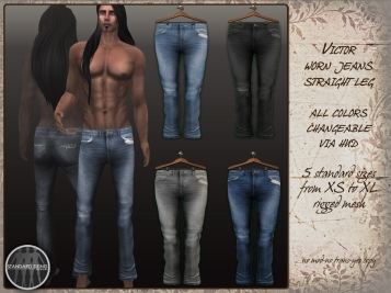Victor - worn jeans straight
