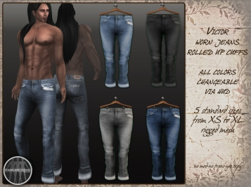 Victor - worn jeans rolled up cuffs