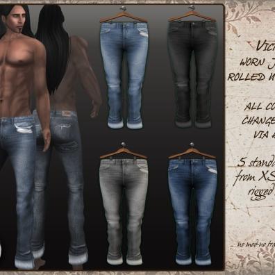 Victor - worn jeans rolled up cuffs