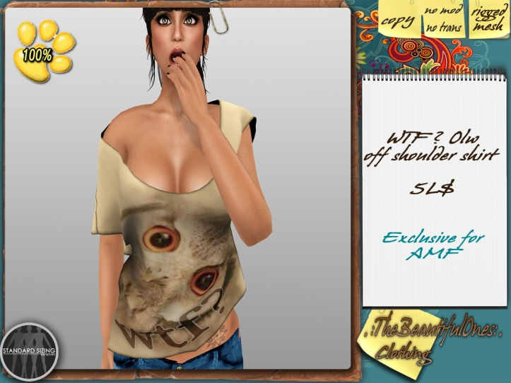 WTF Owl off shoulder shirt 5L - 100% to SPCA