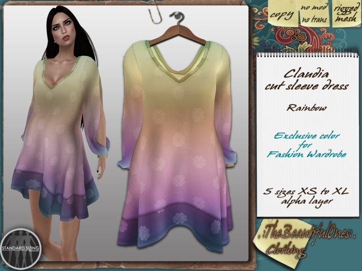 Claudia in rainbow exclusive color at Fashion Wardrobe