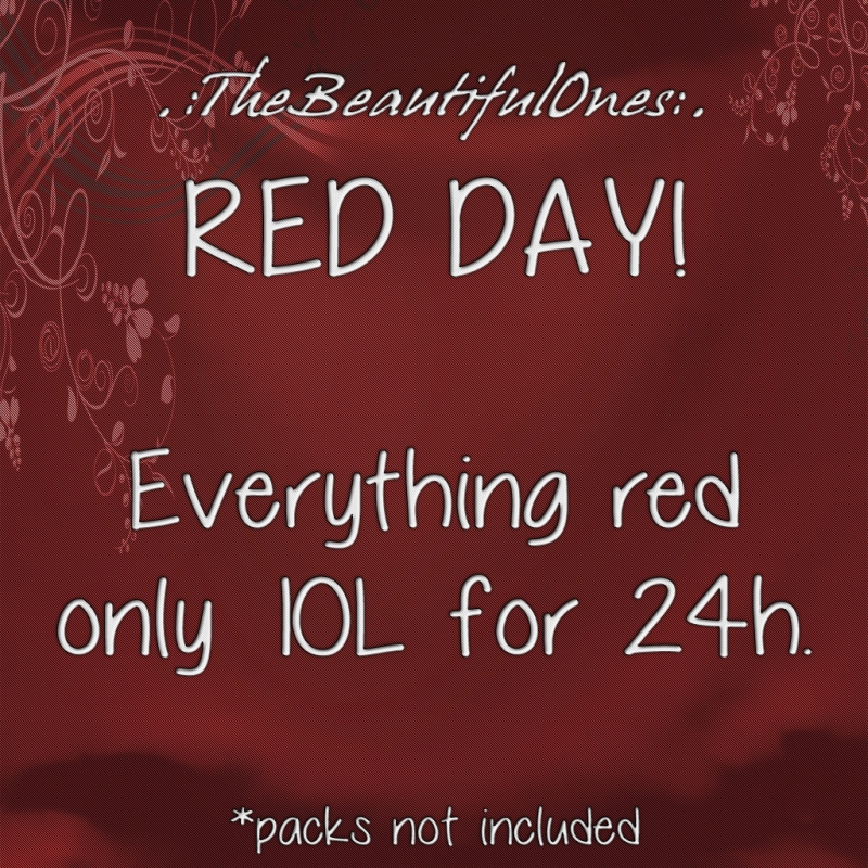 Today i feel happy and red! Everything in red color on store is only 10L for 24 hours! (packs not included) ♥ Babs http://maps.secondlife.com/secondlife/Little%20Rascals/79/157/22